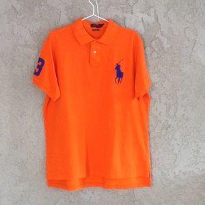A men's Ralph Lauren orange polo shirt